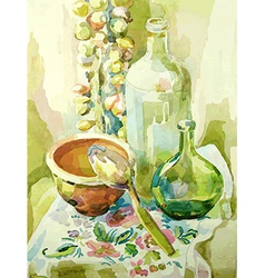 Handmade watercolor kitchen still life vector