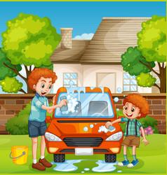 Happy people washing car vector