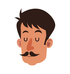 Head man with mustache close eyes vector