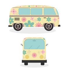 Hippie vans with floral print vehicles vector