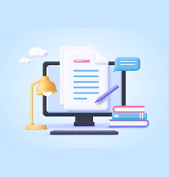 Homework assignment concept e-learning online vector