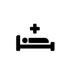 Hospital bed and cross icon on isolated white vector