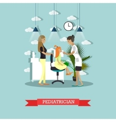 Hospital concept Pediatrician provides medical vector image