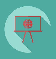 Icons in a flat style globe on board vector