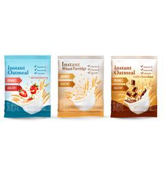 Instant porridge advert concept desing template vector