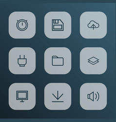 interface icons line style set with socket vector image