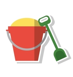 Isolated sand bucket with shovel design vector
