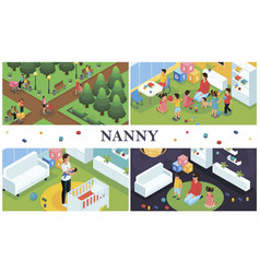 Isometric nanny work composition vector