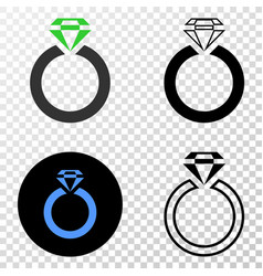 jewelry ring eps icon with contour version vector image
