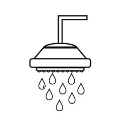 Line plumbing tube shower with water drops vector