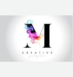 M vibrant creative leter logo design vector
