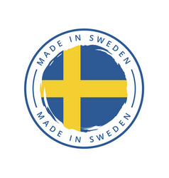 made in sweden round label vector image