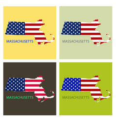 Massachusets state of america with map flag print vector