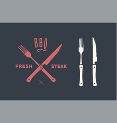 Meat cutting knives and forks set steak butcher vector