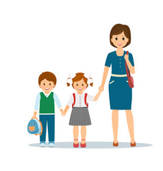 mother with school children vector image
