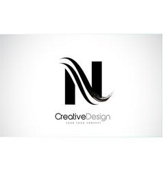 N letter design brush paint stroke vector