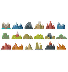 Nature mountains set variety of mountain massif vector