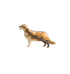 paper cut golden retriever shape 3d origami vector image
