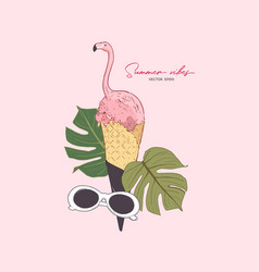 Pink flamingo in icecream cone summer vibes vector