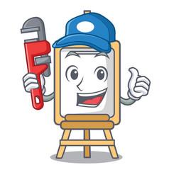 Plumber easel mascot cartoon style vector