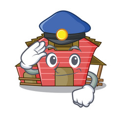 Police character red barn building with haystack vector