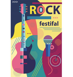poster in flat style musical rock concert guitar vector image