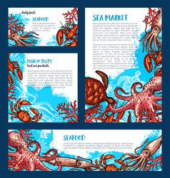 posters or banners for fish seafood market vector image