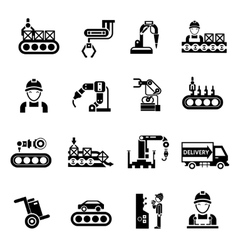 Production Line Icons Black vector image