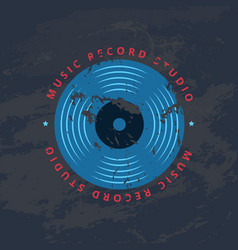 retro sound record studio vinyl music shop club vector image