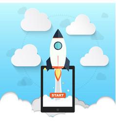 rocket symbol for startup business design vector image