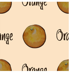 seamless pattern with watercolor oranges vector image