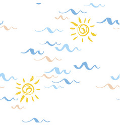 seamless patterns with stylized blue waves and sun vector image