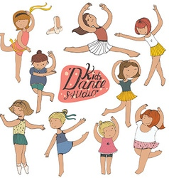 Set of dancing young girls isolated on white fun vector