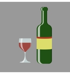 set of wine bottle and glass vector image
