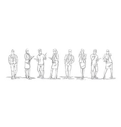 set sketch silhouettes businesspeople vector image