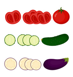 set with tomato cucumber and eggplant vector image