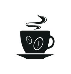 Single black coffee cup or mug icon vector