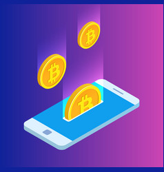 smartphone with gold rain of bitcoins monetary vector image