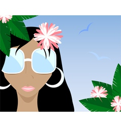 Summer girl black vector