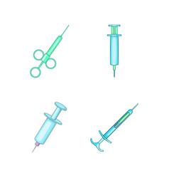 syringe icon set cartoon style vector image