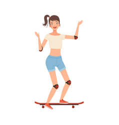 Teenager skateboarding character vector
