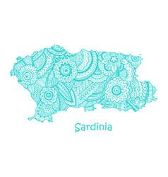 textured map of sardinia hand drawn ethno vector image