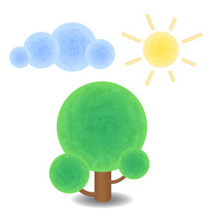 textured tree cloud and sun optimistic summer vector image