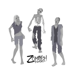 Three zombie characters walking forward vector