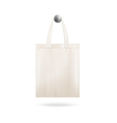 Tote bag mockup with realistic canvas cloth vector