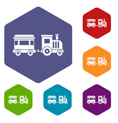 Toy train icons set vector