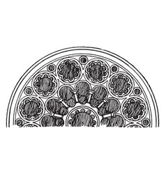 Tracery is a half of west rose window vintage vector