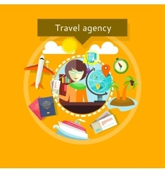 Travel agent with tickets in hands types travel vector