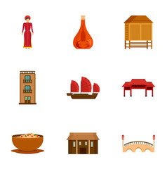 Vietnam attraction icon set flat style vector