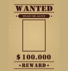 vintage wanted poster template vector image